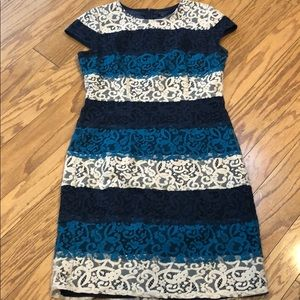 Ann Taylor Bold Stripe Lace Shift Dress Size 10T